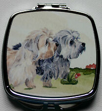 DANDIE DINMONT TERRIER DOG HANDBAG COMPACT MIRROR WATERCOLOUR PRINT SANDRA COEN