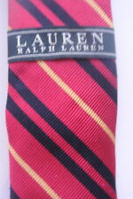 Ralph Lauren Red with Black Gold thin stripes Skinny Silk Tie 3 inch width New