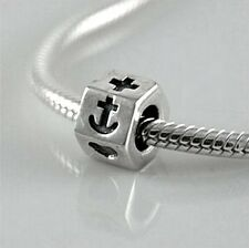 FAITH, HOPE & CHARITY - Christian- Solid 925 sterling silver European charm bead