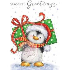 New Wild Rose Studio Clear cling rubber stamp PENGUIN WITH PRESENTS CHRISTMAS ST