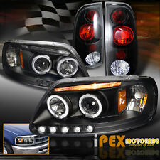 [ 4PIECE ] New 1997-2003 Ford F150 Halo LED Projector Black Head Light+Tail Lamp