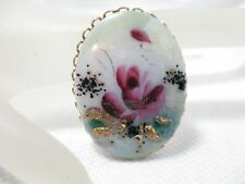Vintage Gold Tone Porcelain Oval Hand Painted Flower Floral Brooch Pin
