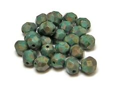 6mm Persian Turquoise Copper Picasso Czech Glass Firepolished Rounds (25) #3181