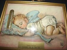 VINTAGE PRINT MAUD TOUSEY FANGEL's  BABY SLEEPING ADVERTISING DURAND GAS & OIL