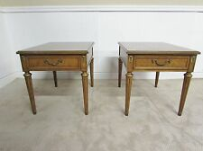 VINTAGE HENREDON WALNUT END TABLES, LAMP, ACCENT TABLE PAIR, ONE DRAWER