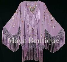 Embroidered Silk Fringe Jacket Kimono Short Lilac Birds Flower Maya Matazaro
