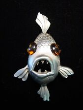"""""""JJ"""" Jonette Jewelry Silver Pewter 'LARGE Eyed Fish' Pin ~ Really CUTE!"""