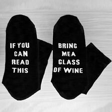 Socks Black Color If You Can Read This Bring Me a Glass Of Wine Women Men US