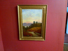 Fine Mid 19thc,Framed English School Oil on Canvas.Sunset Lake Windermere View.
