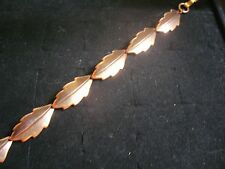 "Vintage Textured Solid Copper Oval Leaf Link 7"" Bracelet"