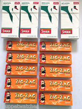 4 x SWAN MENTHOL EXTRA SLIM Tip(480) & 10 Booklet ZIG ZAG LIQUORICE PAPERS(500)