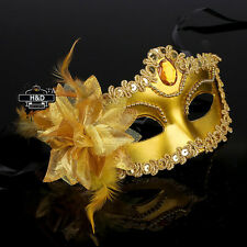Gold Lace Flower Venetian Halloween Masquerade Ball Carnival Eye Masks Party