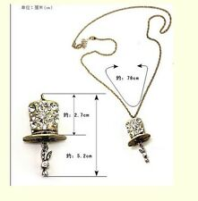 Fashion Antique Style Crystal Top Hat Cute Metal Rabbit  Bunny Pendant Necklace