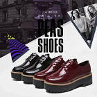 Stylist Womens Lace Up Oxford Flat Wedge High Heel Platform Shoes Creeper Shoes
