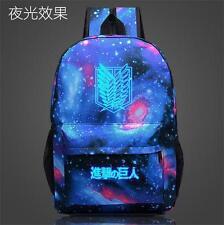 Anime Attack on Titan Luminous Zipper Student Schoolbag Backpack Travel Bag Gift
