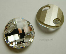 2 pcs x SWAROVSKI 3221 CLEAR CRYSTAL 18mm TWIST SEW-ON CRYSTAL FOILED BEAD