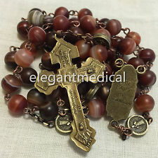Red Carnelian beads Vintage Catholic St. Benedict Rosary Pardon Cross Necklace