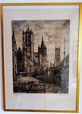 Anton J. van Hoecke Künstlerdruck Gent Drie Torens (Drei Türme/3 towers) 105/150