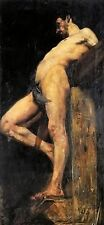 Oil painting lovis corinth - crucified thief nude male portrait no framed canvas