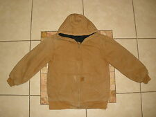 Boys CARHARTT Brown FLANNEL lined HOODED SANDSTONE DUCK Jacket Large 14-16
