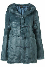 New TOPSHOP faux fur pom pom duffle coat UK 8 in Kingfisher