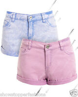 Womens Size 8 10 12 14 16 NEW JEAN SHORTS Ladies DENIM HOTPANTS Girls Blue Short