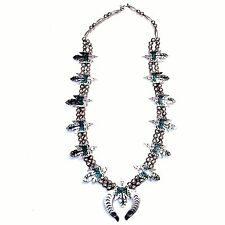 Vtg Navajo Peyote Bird Sterling Silver Turquoise Squash Blossom Necklace 30 Inch