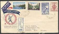 Australia To UK Air Reg Cover 1956 2 Olympic Games Stamps +2 L@@K