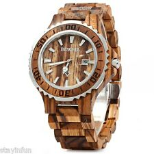 BEWELL ZS-100BG Wood Men Quartz Watch with Metal Case 30M Water Resistance