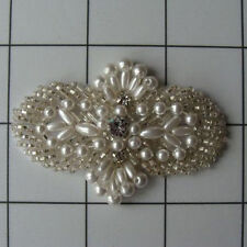 SILVER PEARL BEADED RHINESTONE APPLIQUE 2726-C