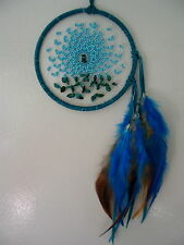 """NEW BEAUTIFUL FIRST NATIONS OJIBWAY DREAM CATCHER ENERGY FLOW TURQ/TURQUOISE 4"""""""