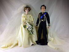 Princess Diana/Prince Charles Doll Set Danbury Mint Wedding Porcelain Dolls