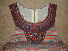 Lucky Brand Sleveless Casual Festive Summer Multi-Color Beaded Dress Size S