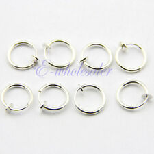 8x 13mm Spring Hoops Comfy Silver CLIP ON Lip Nose Fake Upper Ear Ring JW156 TW