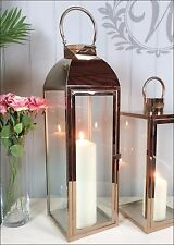 Large Tea Light Lantern Holder Candle Style Garden Antique French Copper Vintage