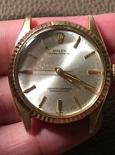 Rolex Oyster Perpetual Date 14k Gold 34mm Watch Swiss Underline Dial Vintage