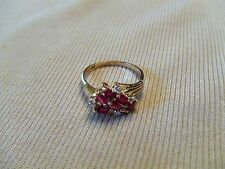 Estate vintage 14k yellow Gold Genuine Ruby & Diamond Ring size 7 Fine Jewelry