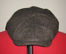 OLNEY 100% WOOL TWEED BROWN / BLACK HERRINGBONE BROOKLYN CAP newsboy baker boy