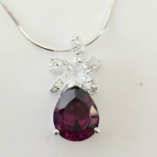 New 925 Sterling Silver Amethyst Rain Pear Drop Floral Charm Pendant & Necklace