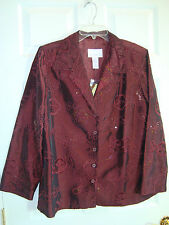 Susan Graver Wine Poly/Nylon Sequined and Embroidered Lined Jacket L NEW