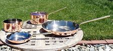 S/4 Copper Cookware w/Brass Handles, Made in France