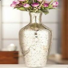 "MERCURY GLASS VASE 16"" ~ DECORATIVE VASE ~ SILVER STONE VASE ~ HOME ACCENT"