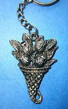Metal Key Chain * Key Ring * Dark Silver Bouquet of Tulips * Flowers New