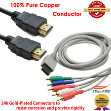 Nintendo Wii - Gold Plated 6 Feet Premium HD Component Cable+6ft 1.4v HDMI Cable