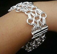 925 Sterling Silver Many Circles Net Web Bracelet  2.2CM 8 Inches H013