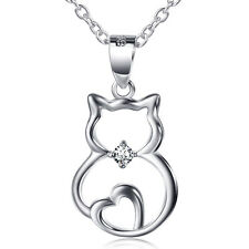 925 Sterling Silver Love Heart Cat Animal Pendant Necklace Crystal CZ Bowknot