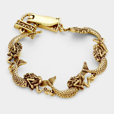 Mermaid Bracelet Chain Link Magnetic Clasp Sea Life Fish Textured Gold Beach