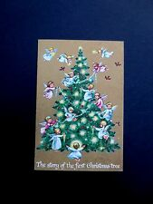 Unused Erica Von Kager Brownie Xmas Greeting Card Angels Decorating Holiday Tree