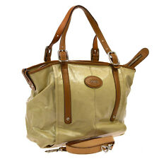 Authentic TOD'S Logos 2way Hand Tote Bag Beige Brown Vinyl Leather Italy NR09042