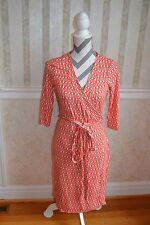 C. Wonder Jersey Wrap Dress Orange Geometric Print Size Small 2 4 6 Rayon Career